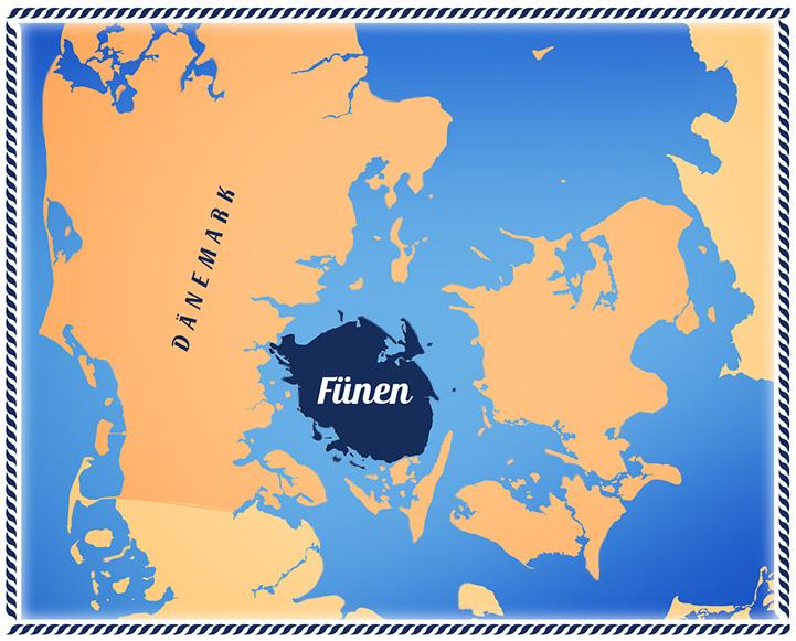 Landkarte von Dänemark mit Fünen