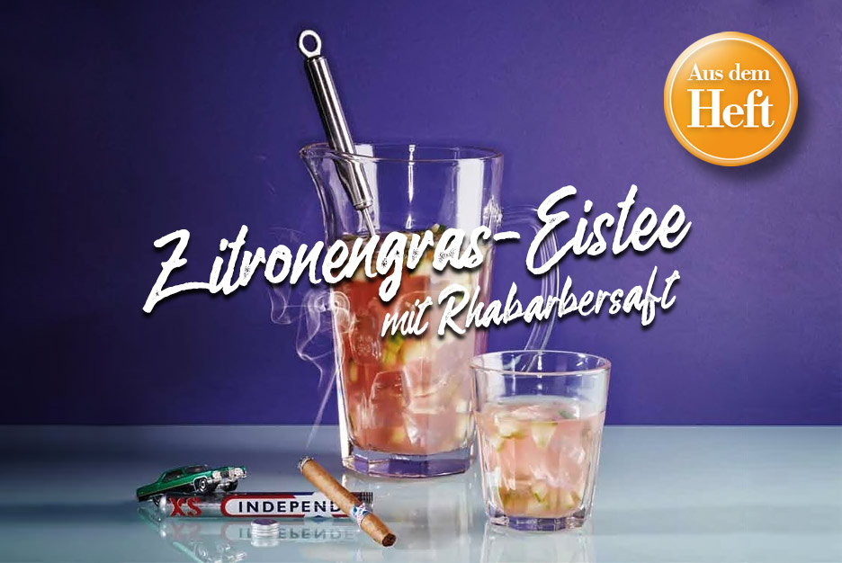 Rezept aus dem Heft: <br /> Zitronengras-Eistee mit Rhabarbersaft