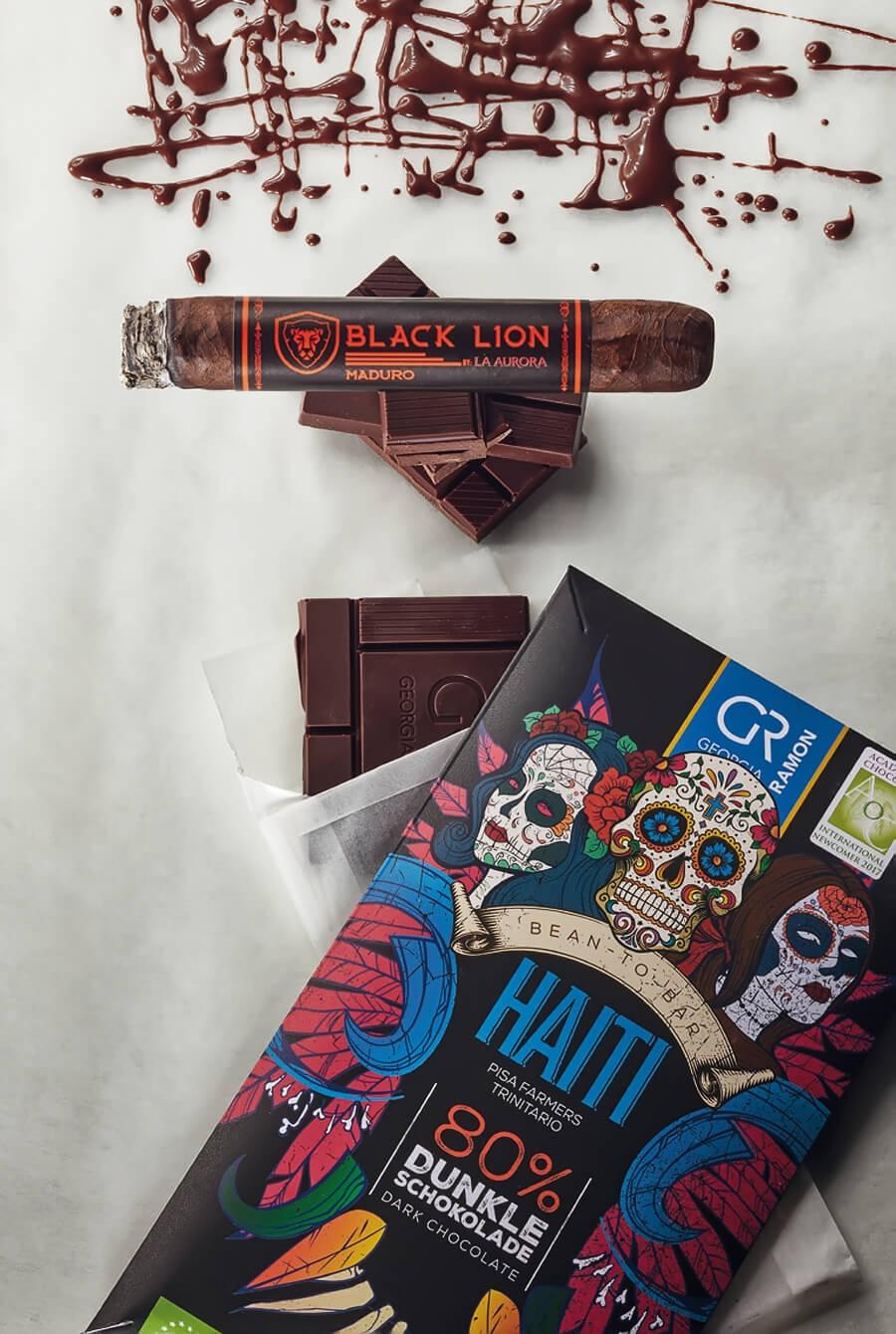 Black Lion Maduro Robusto und die Schokolade Haiti 80 %