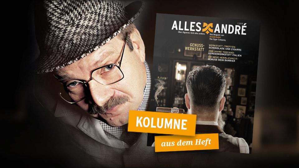 """""""Herr Heuser vom Finanzamt"""" alias Gernot Voltz in der Kolumne zum Themenheft Genusswerkstatt"""