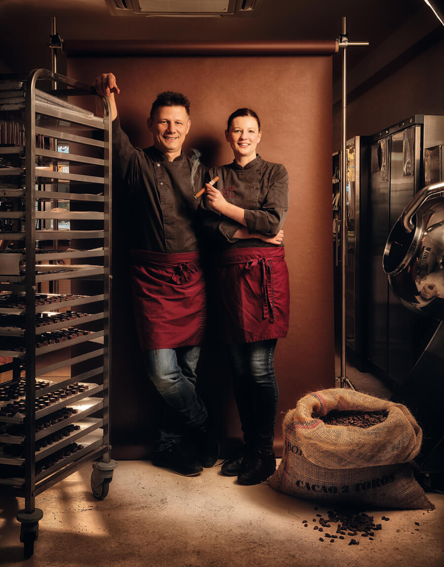 Georg Bernardini und Ramona Gustmann in ihrer Schokoladen-Manufaktur Georgia Ramon