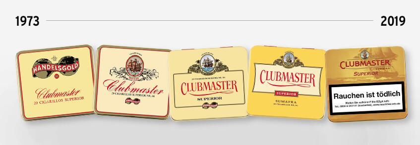 Einige Clubmaster-Vepackungen von 1973 bis heute
