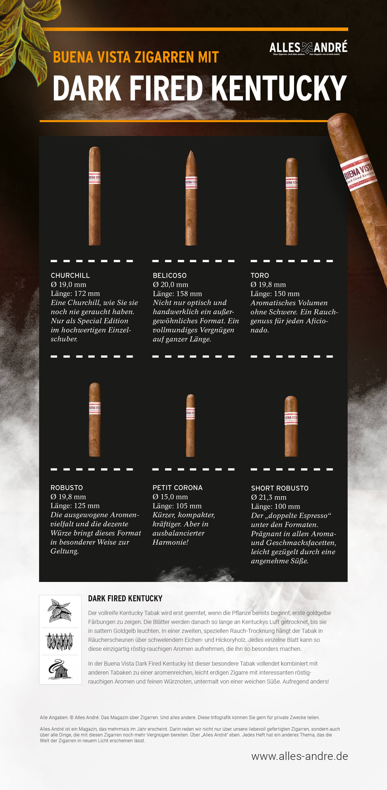 Infografik Dark Fired Kentucky Tabak